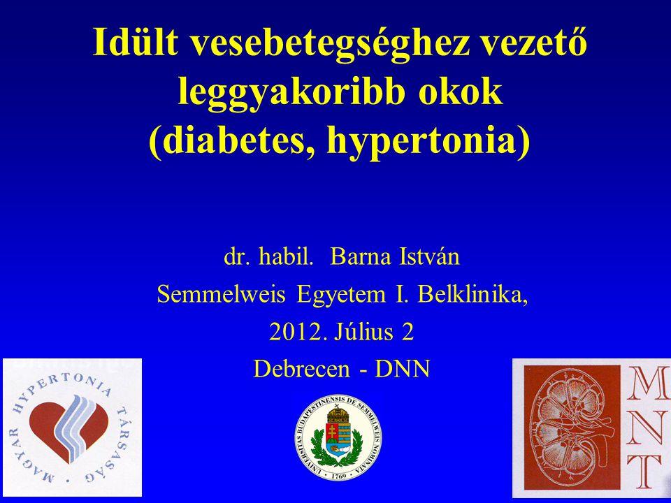Epidemiológia Ma Magyarországon 2,5-3,5 millió közötti hipertóniás, a cukorbetegek száma meghaladja az 1 milliót.