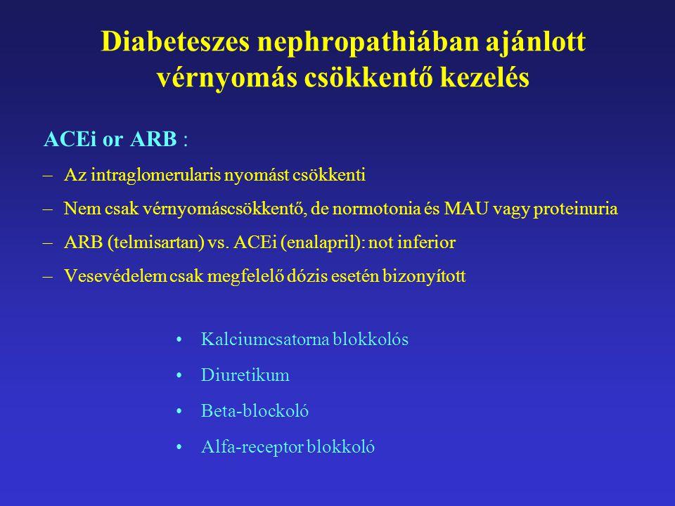 Diabeteszes nephropathiában ajánlott vérnyomás csökkentő kezelés ACEi or ARB : –Az intraglomerularis nyomást csökkenti –Nem csak vérnyomáscsökkentő, d