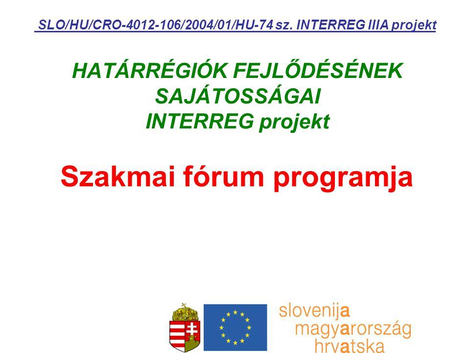 HATÁRRÉGIÓK FEJLŐDÉSÉNEK SAJÁTOSSÁGAI INTERREG projekt Szakmai fórum programja SLO/HU/CRO-4012-106/2004/01/HU-74 sz.