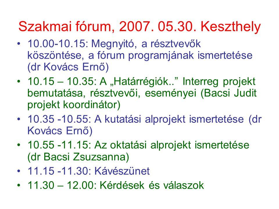 Szakmai fórum, 2007. 05.30. Keszthely 10.00-10.15: Megnyitó, a résztvevők köszöntése, a fórum programjának ismertetése (dr Kovács Ernő) 10.15 – 10.35: