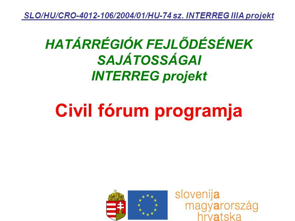 HATÁRRÉGIÓK FEJLŐDÉSÉNEK SAJÁTOSSÁGAI INTERREG projekt Civil fórum programja SLO/HU/CRO-4012-106/2004/01/HU-74 sz. INTERREG IIIA projekt