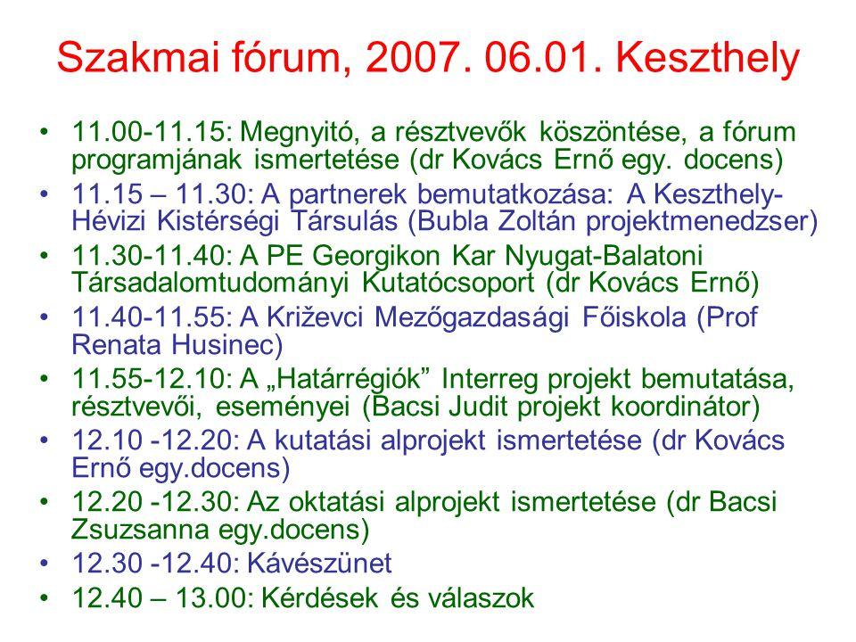 Szakmai fórum, 2007. 06.01. Keszthely 11.00-11.15: Megnyitó, a résztvevők köszöntése, a fórum programjának ismertetése (dr Kovács Ernő egy. docens) 11