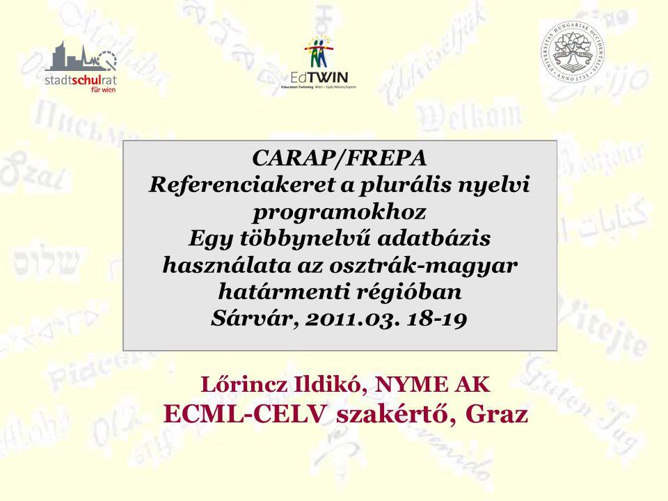 Lőrincz Ildikó, NYME AK ECML-CELV szakértő, Graz CARAP/FREPA Referenciakeret a plurális nyelvi programokhoz Egy többynelvű adatbázis használata az osztrák-magyar határmenti régióban Sárvár, 2011.03.