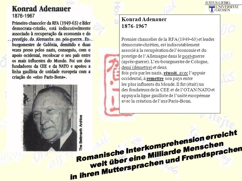 Konrad Adenauer 1876-1967 Premier chancelier de la RFA (1949-63) et leader démocrate-chrétien, est indiscutablement associé à la recupération de l'économie et du prestige de l'Allemagne dans le post-guerre (après-guerre).