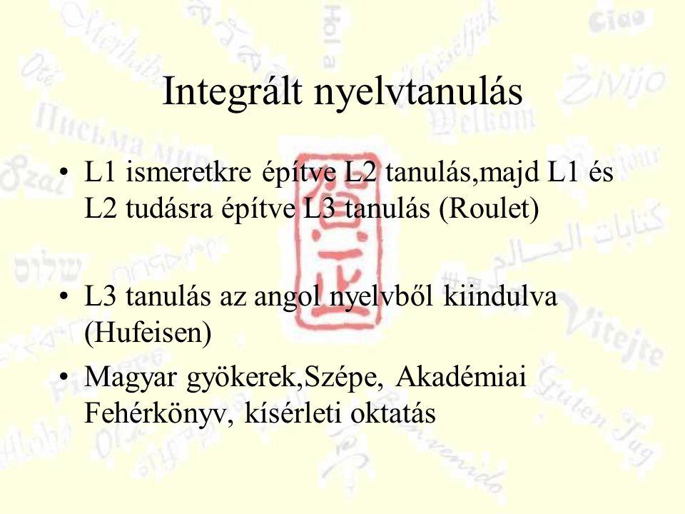 Integrált nyelvtanulás L1 ismeretkre építve L2 tanulás,majd L1 és L2 tudásra építve L3 tanulás (Roulet) L3 tanulás az angol nyelvből kiindulva (Hufeisen) Magyar gyökerek,Szépe, Akadémiai Fehérkönyv, kísérleti oktatás