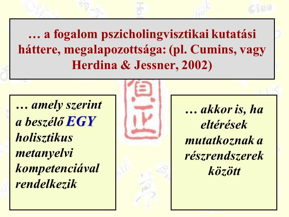 … a fogalom pszicholingvisztikai kutatási háttere, megalapozottsága: (pl. Cumins, vagy Herdina & Jessner, 2002) EGY … amely szerint a beszélő EGY holi