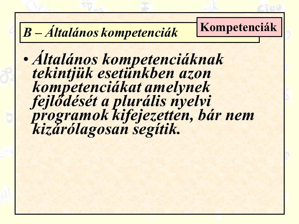 B – Általános kompetenciák Kompetenciák Általános kompetenciáknak tekintjük esetünkben azon kompetenciákat amelynek fejlődését a plurális nyelvi programok kifejezetten, bár nem kizárólagosan segítik.