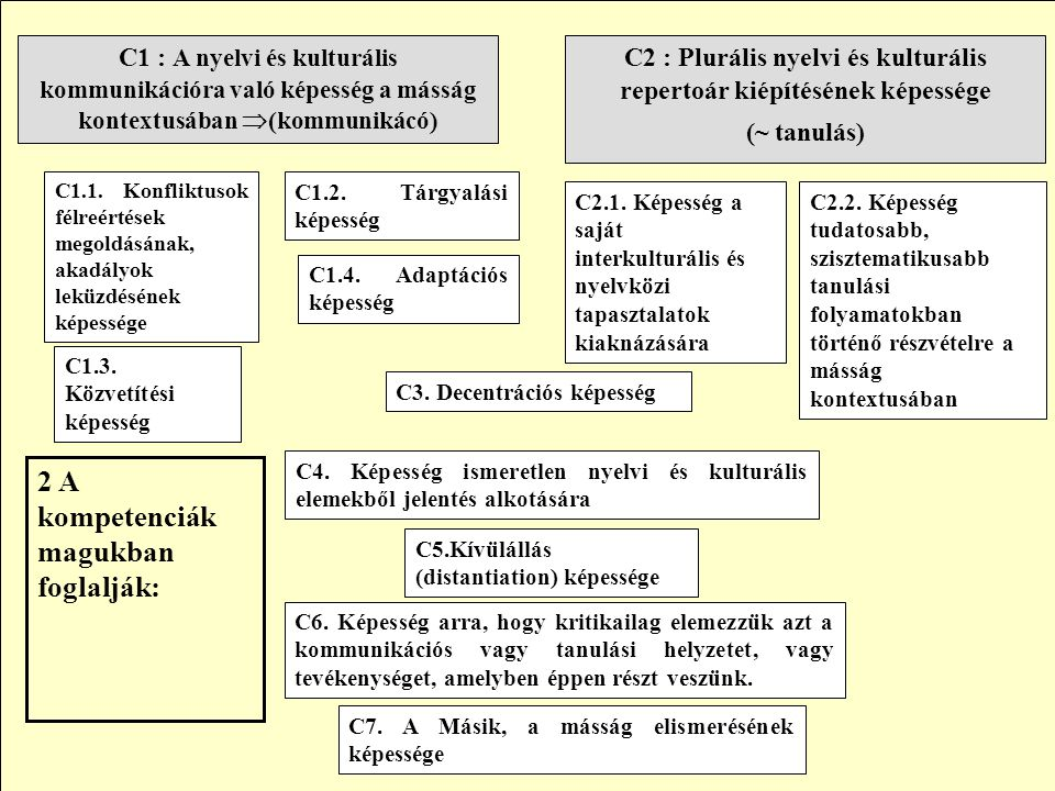 C2 : Plurális nyelvi és kulturális repertoár kiépítésének képessége (~ tanulás) C1 : A nyelvi és kulturális kommunikációra való képesség a másság kontextusában  (kommunikácó) C1.2.