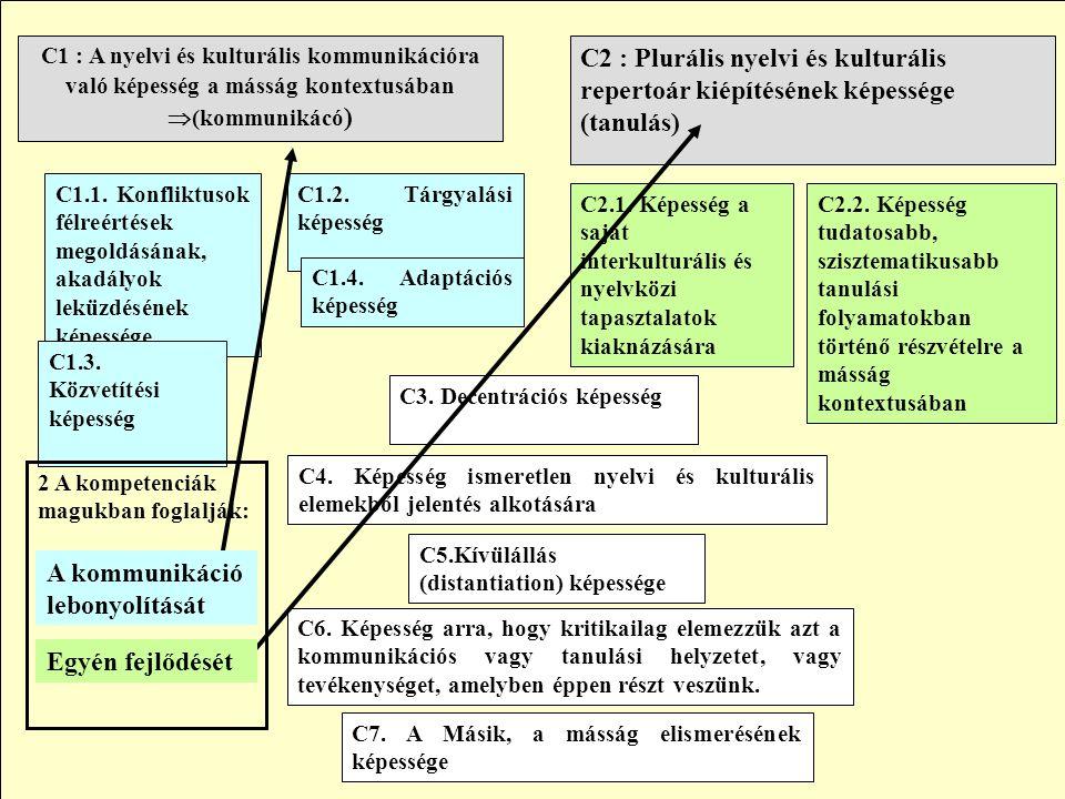 C2 : Plurális nyelvi és kulturális repertoár kiépítésének képessége (tanulás) C1 : A nyelvi és kulturális kommunikációra való képesség a másság kontextusában  (kommunikácó ) C1.2.