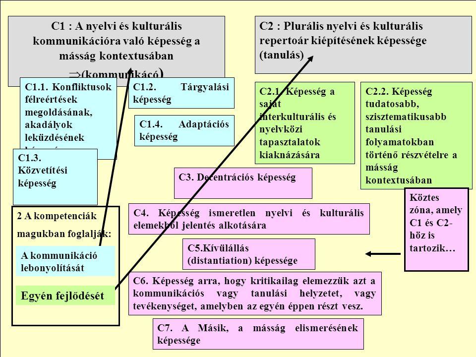 C2 : Plurális nyelvi és kulturális repertoár kiépítésének képessége (tanulás) C1 : A nyelvi és kulturális kommunikációra való képesség a másság kontex