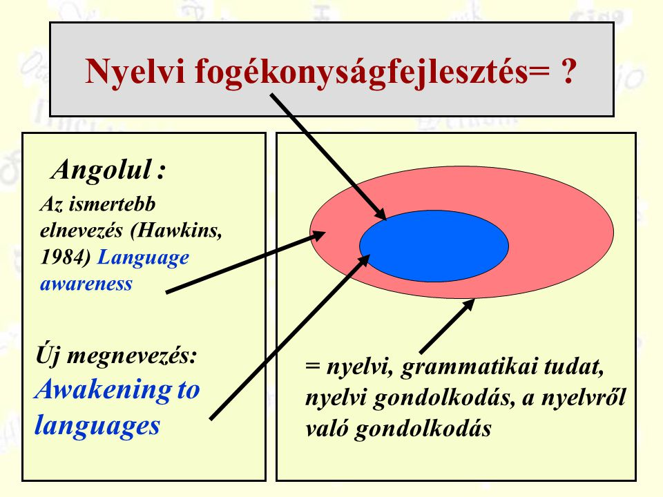 Nyelvi fogékonyságfejlesztés= ? Angolul : Új megnevezés: Awakening to languages = nyelvi, grammatikai tudat, nyelvi gondolkodás, a nyelvről való gondo