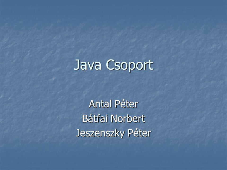 Java Csoport Antal Péter Bátfai Norbert Jeszenszky Péter