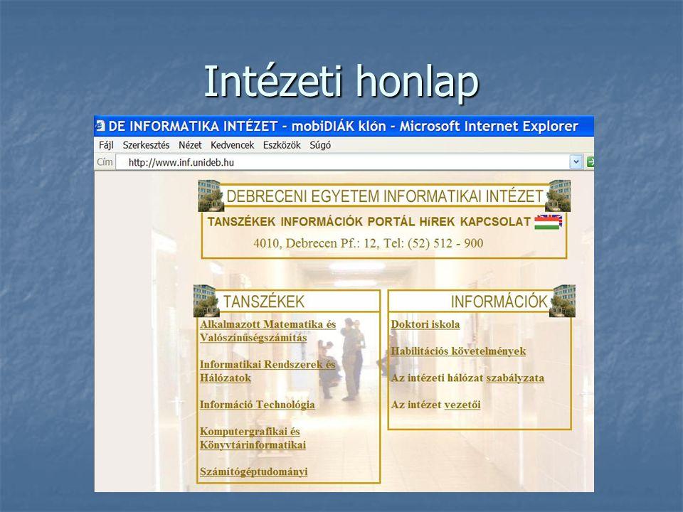 Intézeti honlap