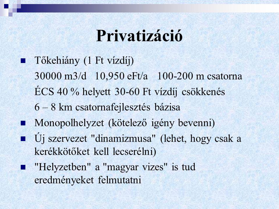 Privatizáció Tőkehiány (1 Ft vízdíj) 30000 m3/d 10,950 eFt/a 100-200 m csatorna ÉCS 40 % helyett 30-60 Ft vízdíj csökkenés 6 – 8 km csatornafejlesztés