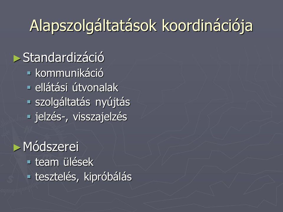 Alapszolgáltatások koordinációja ► Standardizáció  kommunikáció  ellátási útvonalak  szolgáltatás nyújtás  jelzés-, visszajelzés ► Módszerei  tea