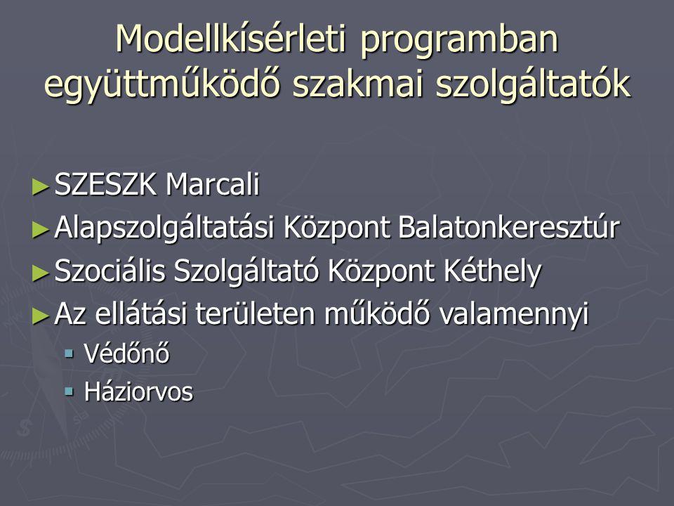 Modellkísérleti programban együttműködő szakmai szolgáltatók ► SZESZK Marcali ► Alapszolgáltatási Központ Balatonkeresztúr ► Szociális Szolgáltató Köz