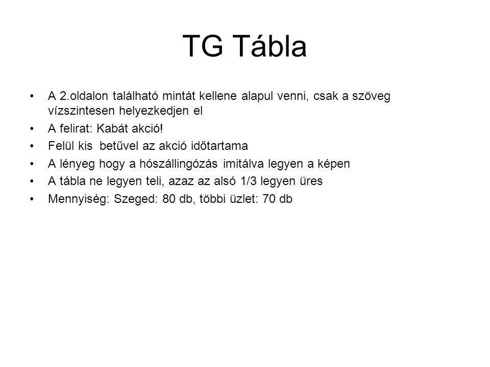 TG Tábla A 2.oldalon található mintát kellene alapul venni, csak a szöveg vízszintesen helyezkedjen el A felirat: Kabát akció.