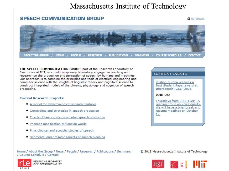 T.Gy. Beszedfelism es szint. 2015.02.13. 14 Massachusetts Institute of Technology