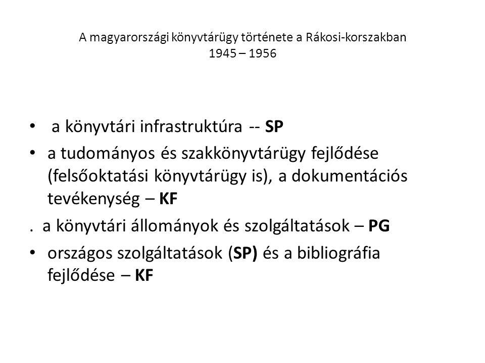 A magyarországi könyvtárügy története a Rákosi-korszakban 1945 – 1956 a könyvtári infrastruktúra -- SP a tudományos és szakkönyvtárügy fejlődése (felsőoktatási könyvtárügy is), a dokumentációs tevékenység – KF.