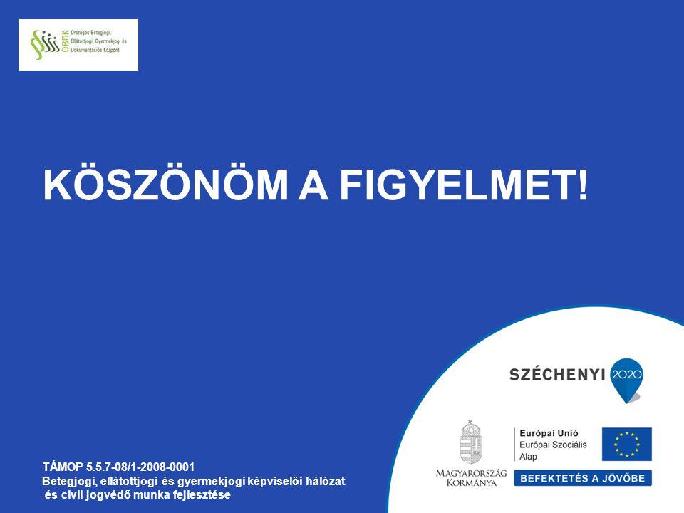 KÖSZÖNÖM A FIGYELMET! TÁMOP 5.5.7-08/1-2008-0001 Betegjogi, ellátottjogi és gyermekjogi képviselői hálózat és civil jogvédő munka fejlesztése