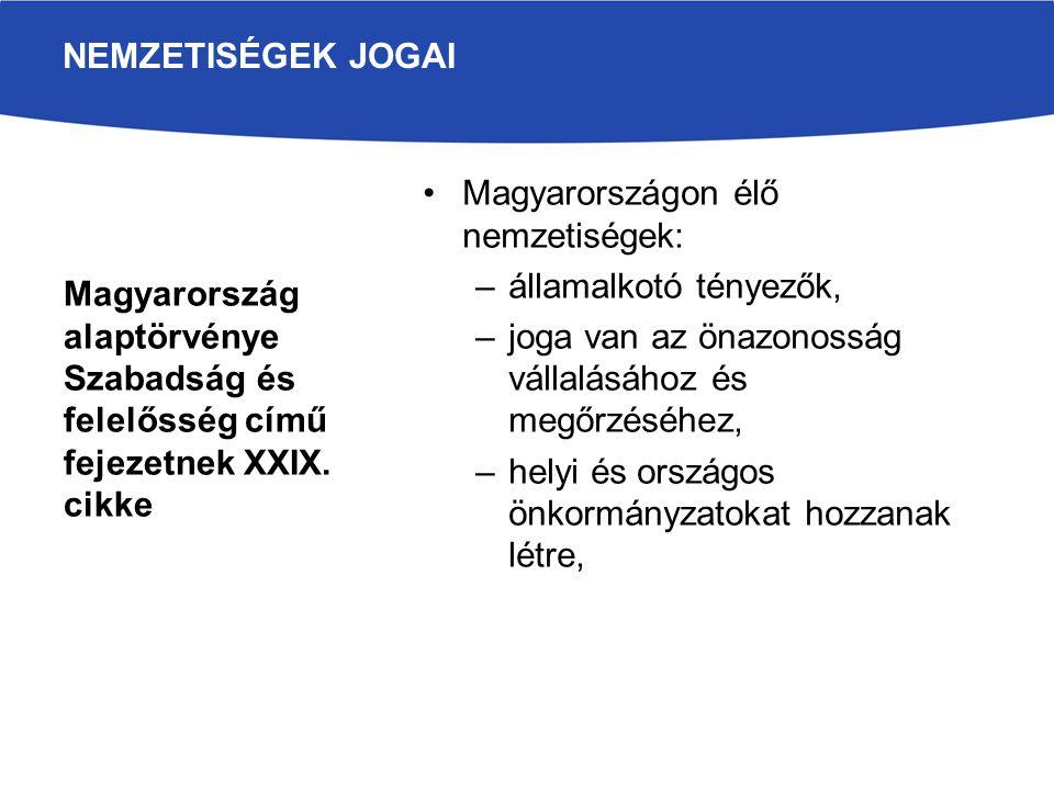 Magyarországon élő nemzetiségek: –államalkotó tényezők, –joga van az önazonosság vállalásához és megőrzéséhez, –helyi és országos önkormányzatokat hoz