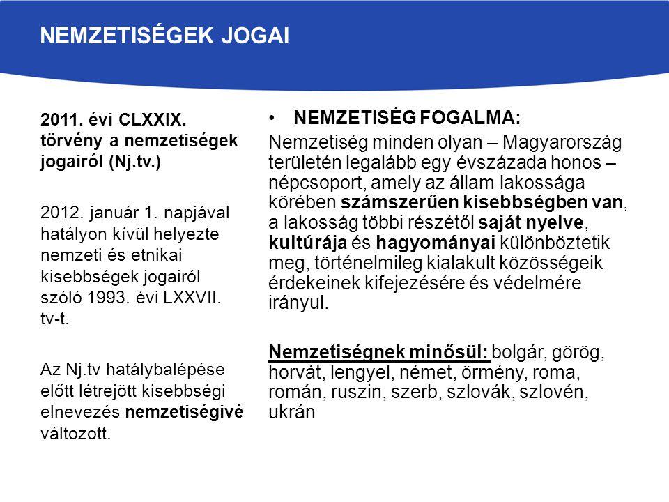 NEMZETISÉG FOGALMA: Nemzetiség minden olyan – Magyarország területén legalább egy évszázada honos – népcsoport, amely az állam lakossága körében száms