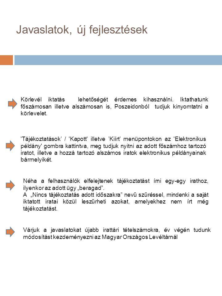 Javaslatok, új fejlesztések Várjuk a javaslatokat újabb irattári tételszámokra, év végén tudunk módosítást kezdeményezni az Magyar Országos Levéltárnál Körlevél iktatás lehetőségét érdemes kihasználni.