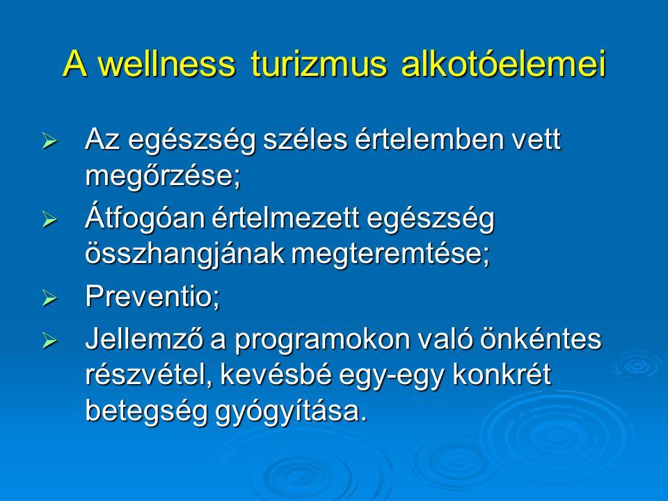A wellness turizmus alkotóelemei  Az egészség széles értelemben vett megőrzése;  Átfogóan értelmezett egészség összhangjának megteremtése;  Prevent