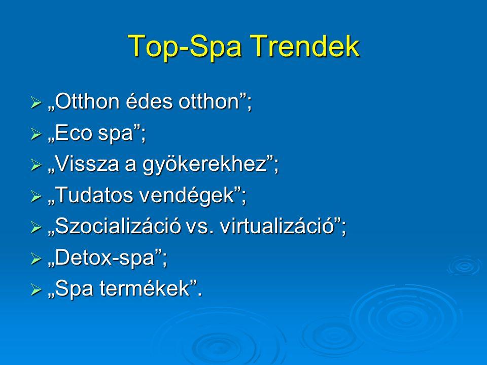 """Top-Spa Trendek  """"Otthon édes otthon"""";  """"Eco spa"""";  """"Vissza a gyökerekhez"""";  """"Tudatos vendégek"""";  """"Szocializáció vs. virtualizáció"""";  """"Detox-spa"""