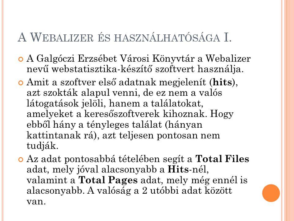 A W EBALIZER ÉS HASZNÁLHATÓSÁGA I. A Galgóczi Erzsébet Városi Könyvtár a Webalizer nevű webstatisztika-készítő szoftvert használja. Amit a szoftver el