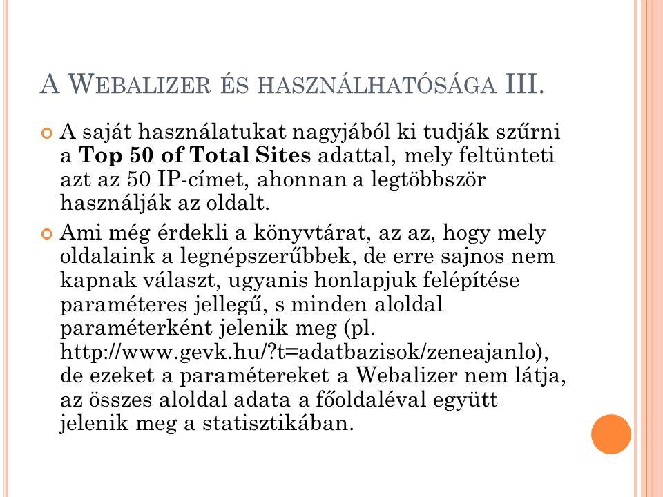 A W EBALIZER ÉS HASZNÁLHATÓSÁGA III. A saját használatukat nagyjából ki tudják szűrni a Top 50 of Total Sites adattal, mely feltünteti azt az 50 IP-cí