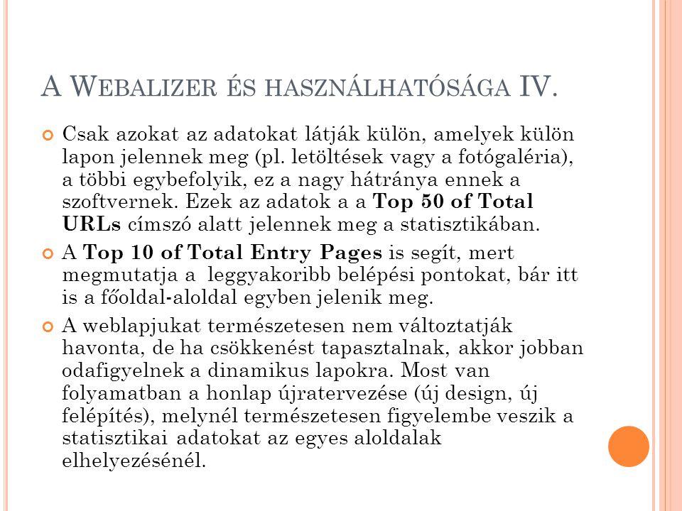 A W EBALIZER ÉS HASZNÁLHATÓSÁGA IV. Csak azokat az adatokat látják külön, amelyek külön lapon jelennek meg (pl. letöltések vagy a fotógaléria), a több