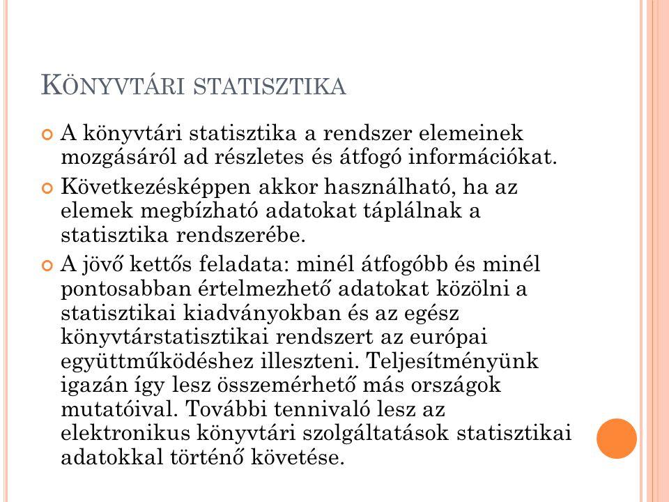 K ÖNYVTÁRI STATISZTIKA A könyvtári statisztika a rendszer elemeinek mozgásáról ad részletes és átfogó információkat. Következésképpen akkor használhat