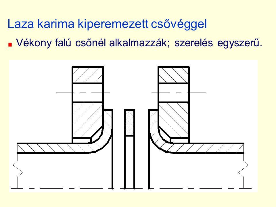 Laza karima kiperemezett csővéggel Vékony falú csőnél alkalmazzák; szerelés egyszerű.