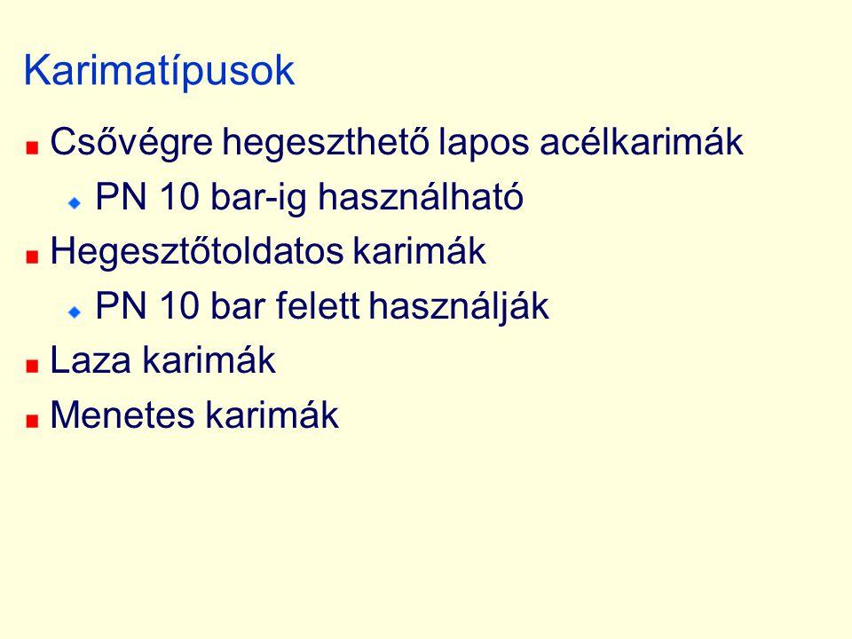 Karimatípusok Csővégre hegeszthető lapos acélkarimák PN 10 bar-ig használható Hegesztőtoldatos karimák PN 10 bar felett használják Laza karimák Menete