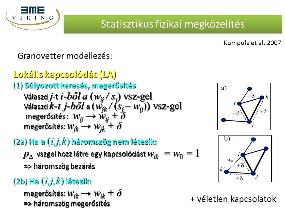Statisztikus fizikai megközelítés Granovetter modellezés: Lokális kapcsolódás (LA) (1) Súlyozott keresés, megerősítés Válaszd j -t i-ből a (w ij / s i