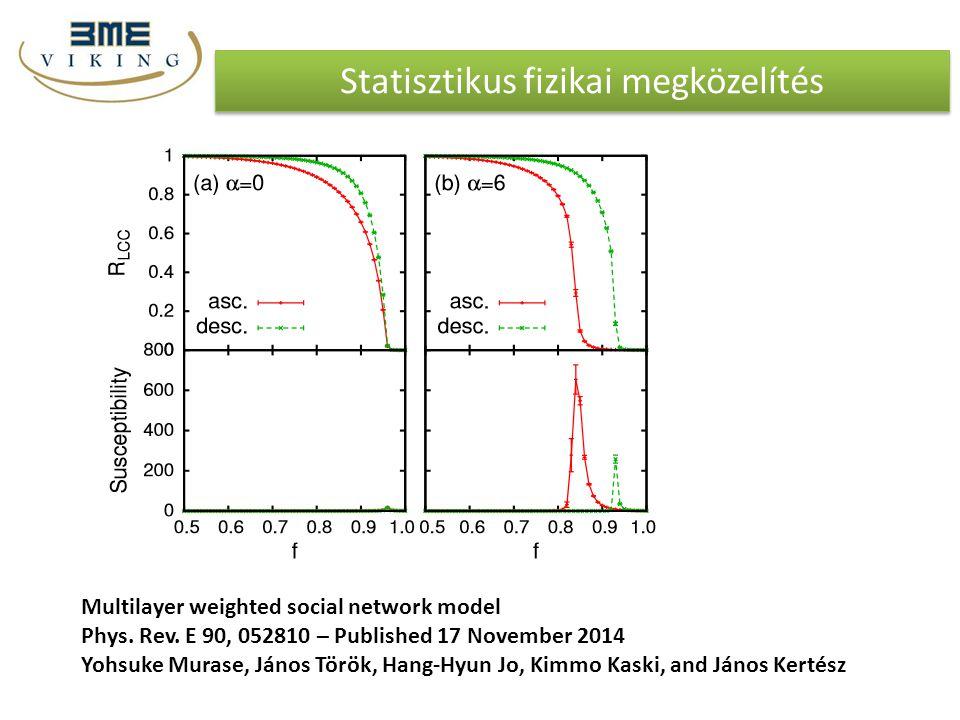 Statisztikus fizikai megközelítés Multilayer weighted social network model Phys. Rev. E 90, 052810 – Published 17 November 2014 Yohsuke Murase, János