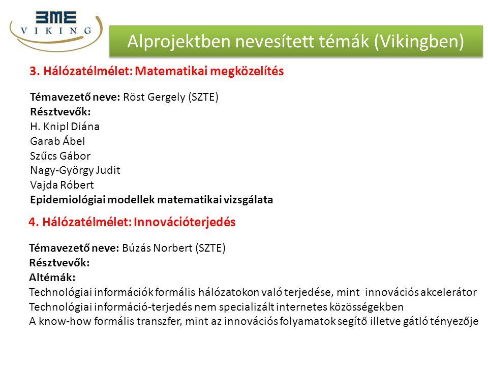 Alprojektben nevesített témák (Vikingben) 3. Hálózatélmélet: Matematikai megközelítés Témavezető neve: Röst Gergely (SZTE) Résztvevők: H. Knipl Diána