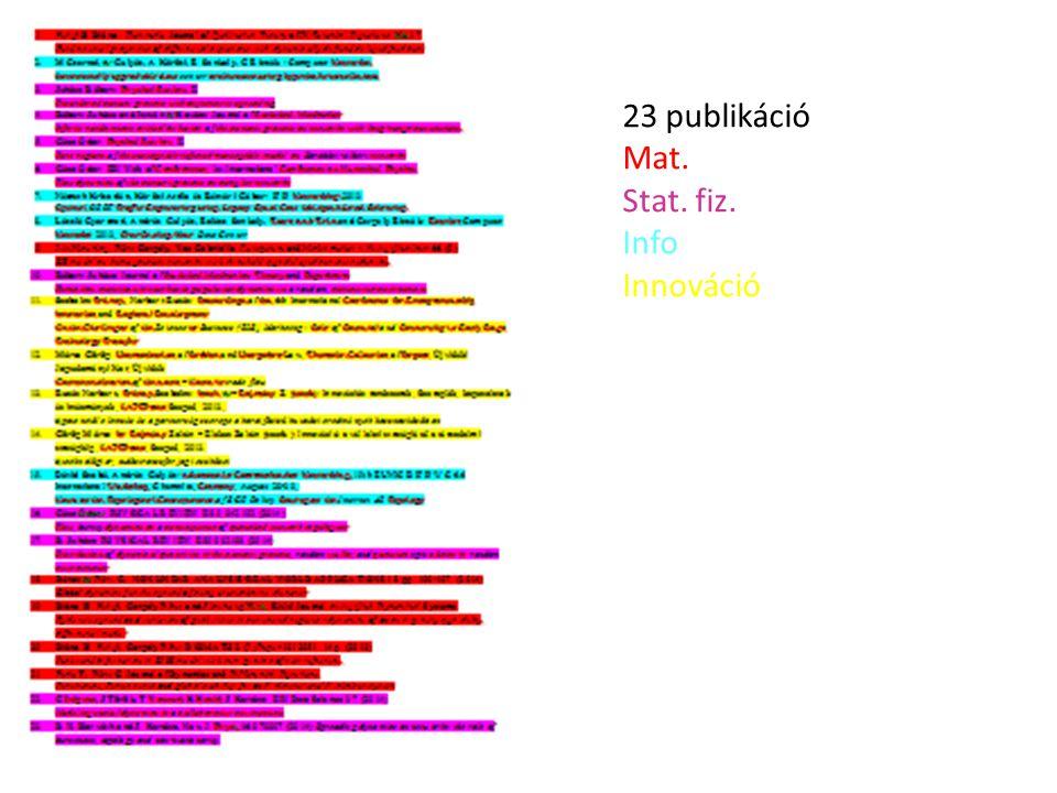 23 publikáció Mat. Stat. fiz. Info Innováció