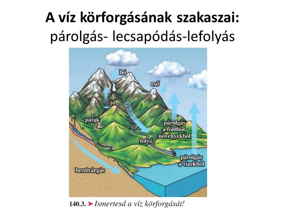 A víz körforgásának szakaszai: párolgás- lecsapódás-lefolyás