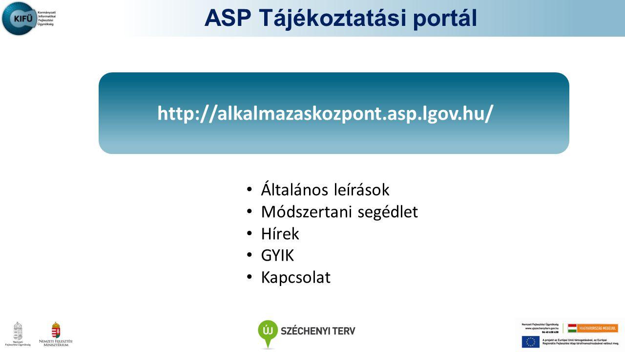 http://alkalmazaskozpont.asp.lgov.hu/ Kapcsolattartás + Csatl. Szerz kapcsolattartó