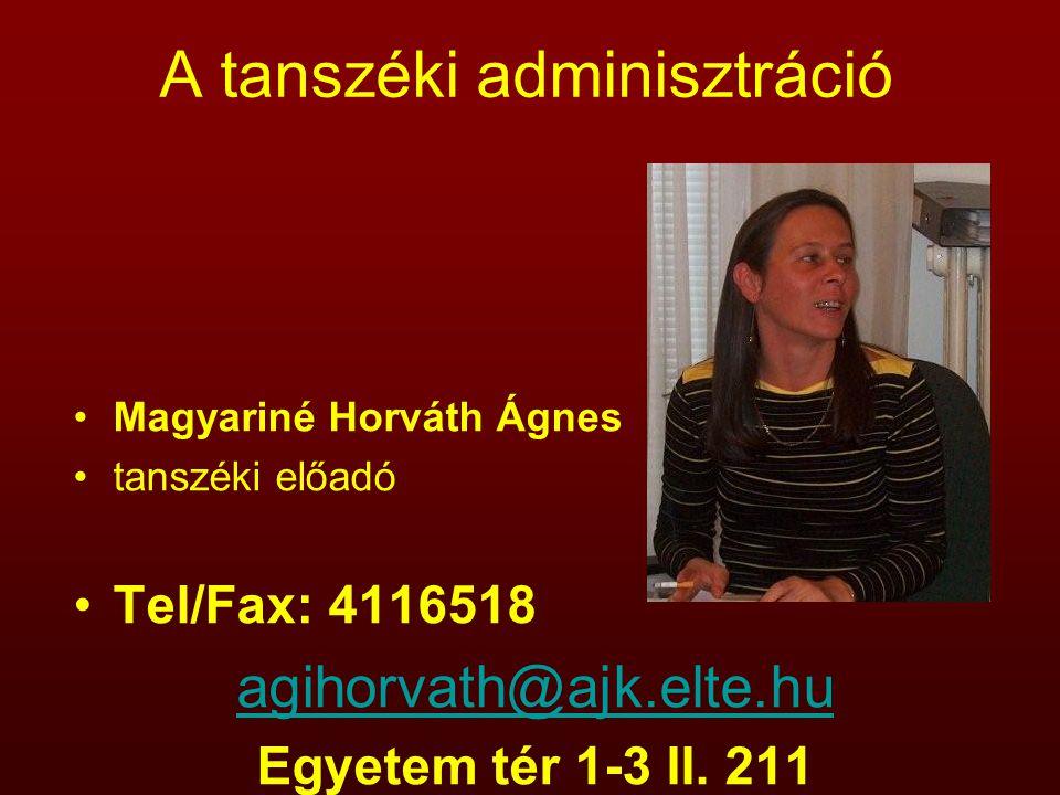 A tanszéki adminisztráció Magyariné Horváth Ágnes tanszéki előadó Tel/Fax: 4116518 agihorvath@ajk.elte.hu Egyetem tér 1-3 II. 211