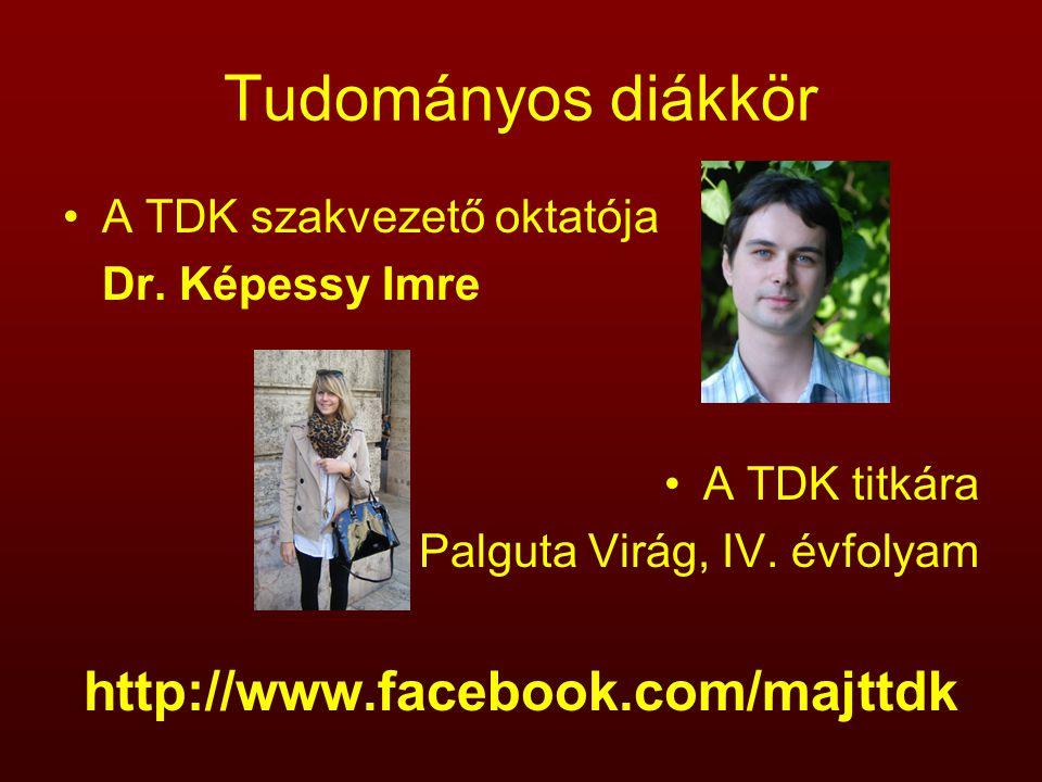 Tudományos diákkör A TDK szakvezető oktatója Dr. Képessy Imre A TDK titkára Palguta Virág, IV. évfolyam http://www.facebook.com/majttdk