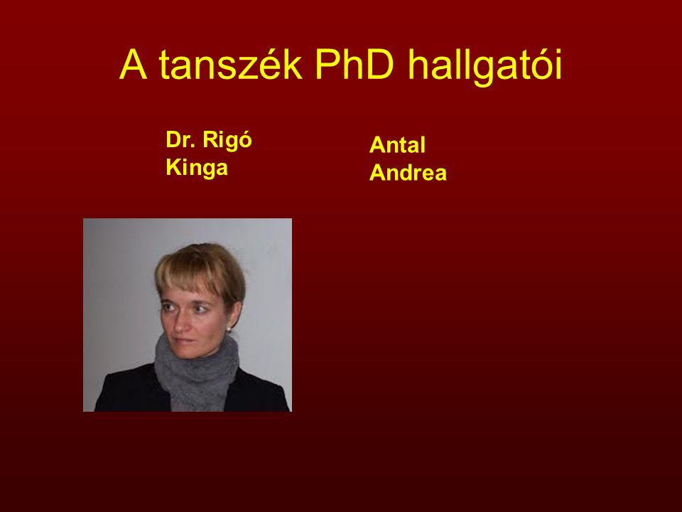 A tanszék PhD hallgatói Dr. Rigó Kinga Antal Andrea