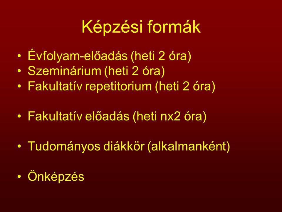Képzési formák Évfolyam-előadás (heti 2 óra) Szeminárium (heti 2 óra) Fakultatív repetitorium (heti 2 óra) Fakultatív előadás (heti nx2 óra) Tudományo