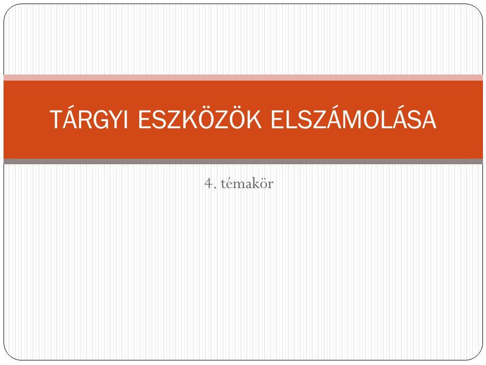4. témakör TÁRGYI ESZKÖZÖK ELSZÁMOLÁSA