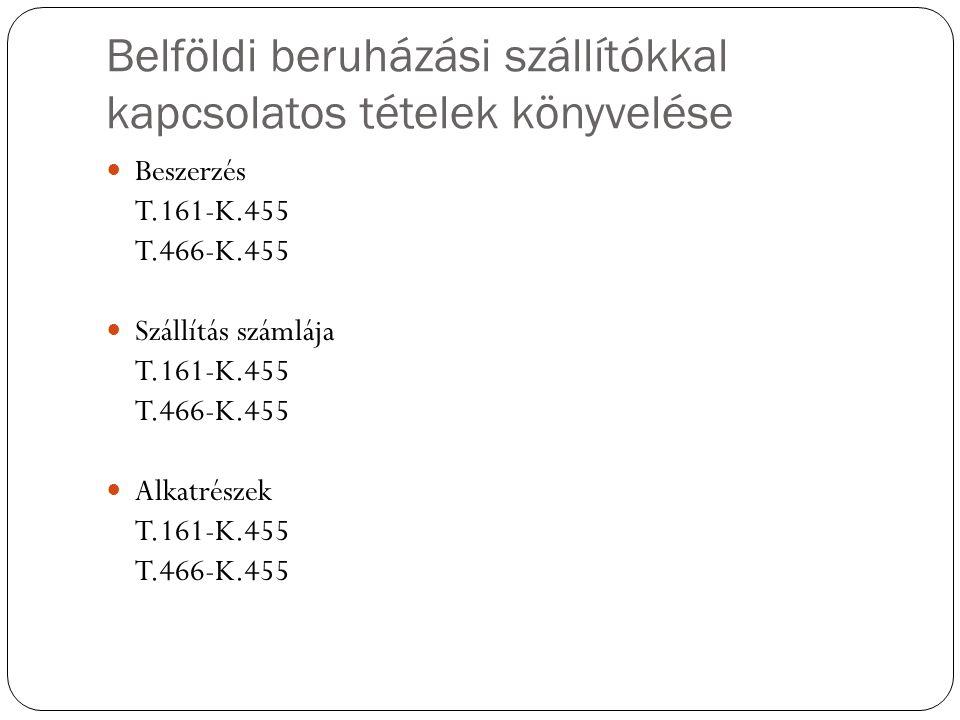 Belföldi beruházási szállítókkal kapcsolatos tételek könyvelése Beszerzés T.161-K.455 T.466-K.455 Szállítás számlája T.161-K.455 T.466-K.455 Alkatrész