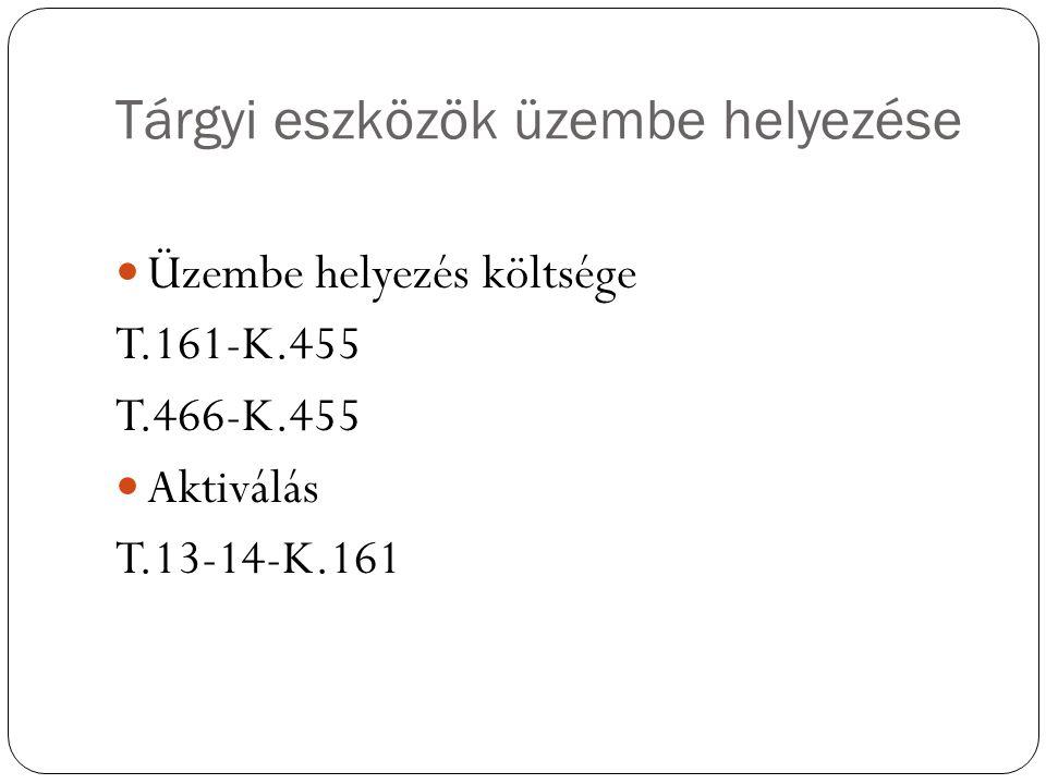Tárgyi eszközök üzembe helyezése Üzembe helyezés költsége T.161-K.455 T.466-K.455 Aktiválás T.13-14-K.161