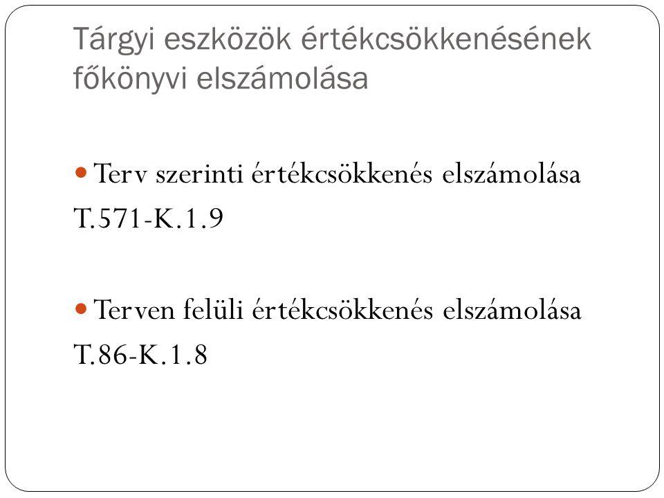 Tárgyi eszközök értékcsökkenésének főkönyvi elszámolása Terv szerinti értékcsökkenés elszámolása T.571-K.1.9 Terven felüli értékcsökkenés elszámolása