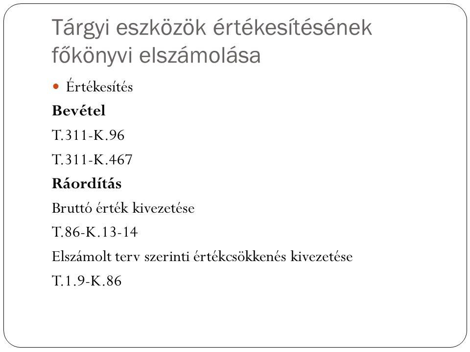 Tárgyi eszközök értékesítésének főkönyvi elszámolása Értékesítés Bevétel T.311-K.96 T.311-K.467 Ráordítás Bruttó érték kivezetése T.86-K.13-14 Elszámo
